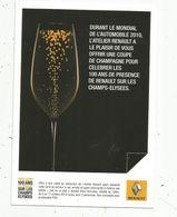 Cp , Publicité RENAULT , Une Coupe De Champagne , Mondial De L'automobile, 2010, Vierge - Cartes Postales