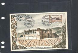 Carte Maximum Chateau Du Clos Vougeot 1951 Signée Gandon - Cartes-Maximum