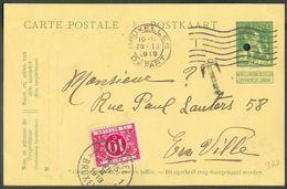 E.P. Carte 5 Centimes PELLENS, Perforée Pour Annulation (HC) Obl. Mécanique BRUXELLES 26-II-1919 Vers La Ville + Taxée à - Enteros Postales