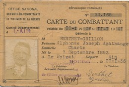 696,2 - Carte De Combattant Année 1936 - Transportation Tickets