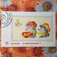 LITTLE Hedgehog - OLD Soviet PC 1968 -  Mushroom - Champignon - Butterfly - Champignons