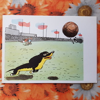 Dachshund - Teckel - Dackel - Bassotto - WAKSA-KLIAKSA By Kanevsky. Old USSR Postcard, 1965 - Football - Hunde
