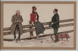 Carlo Pellegrini - Winterfreude En Hiver Schlitten Sled - No. 29 - Künstlerkarten