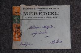 Timbre Sur Lettre Publicitaire - PERIGUEUX, MEREDIEU, Beurres Et Fromages - Lebensmittel