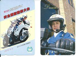 2 Télécartes Japon Moto Police  (D 396) - Polizia