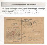 POLOGNE Lettre Prison Allemande En Pologne -carte Imprimée Censurée PRISON DE POSEN 1942 - 1939-44: World War Two