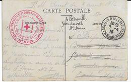 1915 - CROIX-ROUGE - SECOURS AUX BLESSES MILITAIRES - CARTE FM De L'AMBULANCE ANNEXE De MARSEILLE => TOUL => BIENVILLE - Marcophilie (Lettres)
