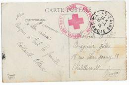 1915 - CROIX-ROUGE - CARTE FM De L'HOPITAL AUXILIAIRE De AIX LES BAINS (SAVOIE) => CHATELLERAULT - Marcophilie (Lettres)