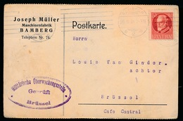 BAMBERG DUITSLAND    - DUITSE CONTROLE STEMPEL 1915 - NAAR ASSE -  ZIE 2 AFBEELDINGEN - Asse