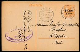 UCCLE     - DUITSE CONTROLE STEMPEL 1917 - NAAR ASSE -  ZIE 2 AFBEELDINGEN - Asse