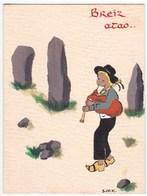 Ancien Dessin Original Peinture BRETAGNE BREIZ ATAO Signé S.M.K. Sur Petite Carte Papier Dépliante - Bretagne
