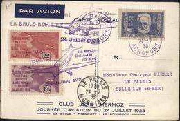 Avion Aviation La Baule Belle Ile En Mer 1er Vol Postal YT 383 V Hugo Seul Sur Lettre Vignette Club J Mermoz Meeting - Postmark Collection (Covers)