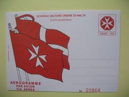 Entiers Postaux   Sovrano Militaire Ordine Di Malte Malte  Aérogramme Par Avion  Via Aerea  N° 20864 - Malte (Ordre De)
