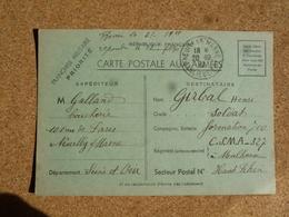 Carte Postale Aux Armées En Franchise Militaire Guerre De 1939-45 WWII Oblitération Neuilly Sur Marne Banlieue Est - Oorlog 1939-45