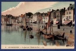 44 LE POULIGUEN Le Quai Vers L'entrée Du Port ; Canots, Commerces - Animée - Colorisée - Le Pouliguen