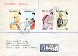 MAURITIUS - AIR MAIL RECO 1981 -> BONN-BAD GODESBERG Mi #498-501 - Mauritius (1968-...)