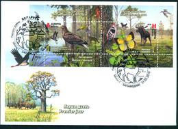 TH Belarus 2018 RCC Sanctuaries Birds Butterfly Moose Fauna FDC Bl - Pájaros