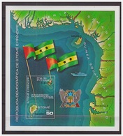 0764 Sao Tome 1978 Map Flag 30 Year Independance S/S MNH Imperf - Sao Tome En Principe