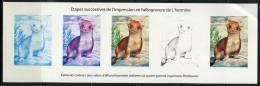 Bloc Gommé L'Hermine, Etapes De L'impression En Héliogravure Du Timbre Du Bloc Série Naturede France - Blocs & Feuillets