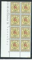 Italia 1966; Giornata Del Francobollo. Blocco D' Angolo Di 8 Valori = 2 Quartine Unite - 6. 1946-.. Repubblica