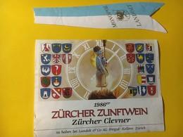"""7984 - Zürcher Zunftwein 1986 Clevner (pinot Noir) Suisse Tradition """"on Brûle Le Bonhomme Hiver"""" - Etiquettes"""