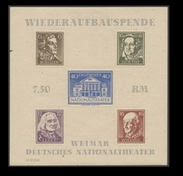 SBZ Thüringen, Block 3 B A Ya, Type I, *, Durchstochen Mit Pfalzspur, Wiederaufbau Des Deutschen Nationaltheaters Weimar - Sowjetische Zone (SBZ)