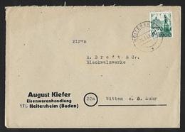 1948 - DEUTSCHLAND (Baden/Französische Zone) - Cover + Michel 22 [Rastatt] + HEITERSHEIM - Zone Française