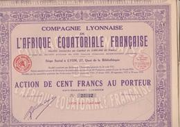 COMPAGNIE LYONNAISE DE L'AFRIQUE EQUATORIALE FRANCAISE -LOT DE 5 ACTIONS DE 100 FRS -1928 - Afrique