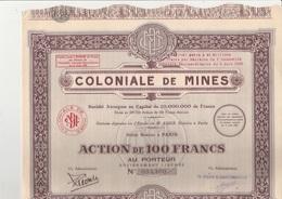COLONIALE DE MINES - LOT DE 5 ACTIONS DE 100 FRANCS - 1929 - Mines