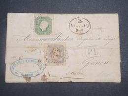 PORTUGAL - Lettre De Lisbonne Pour Gênes En 1865 , Affranchissement Bicolore - L 14888 - Cartas