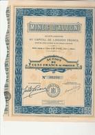 ACTION DE 100 FRS - MINES D'ALZON- GARD - ANNEE 1929 - Mines