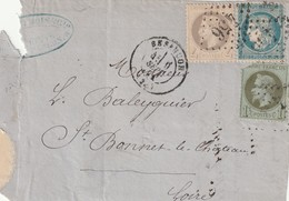 France Devant De Lettre Affranchissement Septembre 1871 Besancon Doubs - Postmark Collection (Covers)