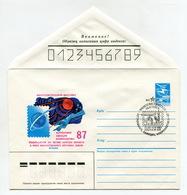 SPACE COVER USSR 1987 PHILATELIC EXHIBITION ASTRONOMY, AVIATION, COSMONAUTIC FIRST SATELLITE #87-236 SP.POSTMARK - Brieven & Documenten