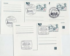 CZECH REPUBLIC 1995 Railway Anniversary 3 Kc.stationery Cards Cancelled With Commemorative Postmarks. - Czech Republic