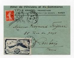 !!! VIGNETTE MEETING AVIATION DE NANCY 1912 SUR LETTRE DE NANCY POUR ROUBAIX DU 28/7/1912 - Marcophilie (Lettres)