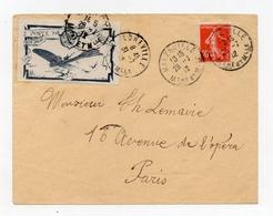 !!! VIGNETTE MEETING AVIATION DE NANCY 1912 SUR LETTRE DE MALZEVILLE POUR PARIS DU 28/7/1912 - Postmark Collection (Covers)