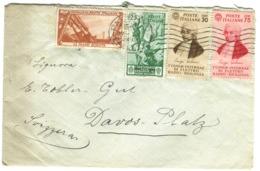 1934 30c +75c.Galvani Su Bellissima Busta Diretta In Svizzera Con Vignette Tubercolosi - 1900-44 Victor Emmanuel III
