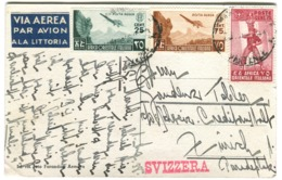 1938 Bellissima Franchigia Tricolori VIA AEREA Su Cartolina ASMARA Pozzo Macinet Andata In Svizzera - Italienisch Ost-Afrika