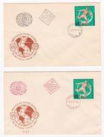 1962 FOOTBALL WORLD CHAMPIONSHIP - CHILE  1v. Perf. - 2 FDC - Cancellation Black + Red (Rare) Bulgaria/Bulgarie - Coupe Du Monde