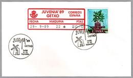 JUVENIA '89 - MOLINO - WINDMILL - ATM - Sello Perforado - Perfin Stamp. Getxo, Vizcaya, 1989 - Molinos