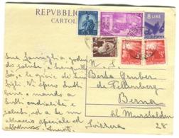 1948 Cart. Postale 8 Lire Con Franchigia Suppl. Andata In Svizzera 1950 - 6. 1946-.. Republik