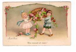 Illustrateur Illustration Cpa Ebner Pauli Une Cascade De Roses Enfant Enfants Garçon Et Fille Fillette - Ebner, Pauli
