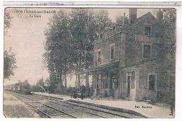 71  FONTAINES  LES  CHALON  LA  GARE   + TRAIN    BE  OO597 - Other Municipalities
