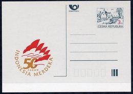 CZECH REPUBLIC 1995 3 Kc.postcard Indonesia Merdeka Unused.  Michel P7-A2 - Postal Stationery