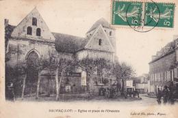 46. SALVIAC. CPA .  EGLISE ET PLACE DE L'ORATOIRE. ANNÉE 1912 - Salviac