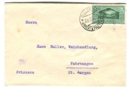 1930 Anno Virgiliano 25c Verde Solo Su Busta Andata In Svizzera - Storia Postale