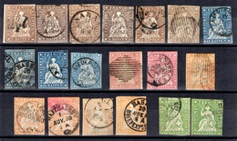 Suisse 19 Timbres Helvetia Non-dentelés Oblitérés 1854/1862. Forte Cote. A Saisir! - Gebraucht