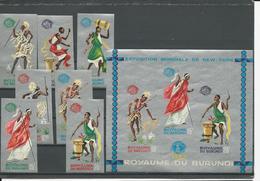 BURUNDI Scott 88a-93a, 93d Yvert 95A-101A, BF2A (7+bloc) **non Dentelé Cote 9,00 $ 1965 - Burundi