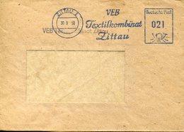 31709 Germany Ddr, Red Meter,freistempel/ema/ Zittau 1958 VEB Textilkombinat Zittau, Circuled Cover - Textiel