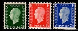 France Série Dulac YT N° 701D/701F Neufs ** MNH. TB. A Saisir! - 1944-45 Marianne (Dulac)